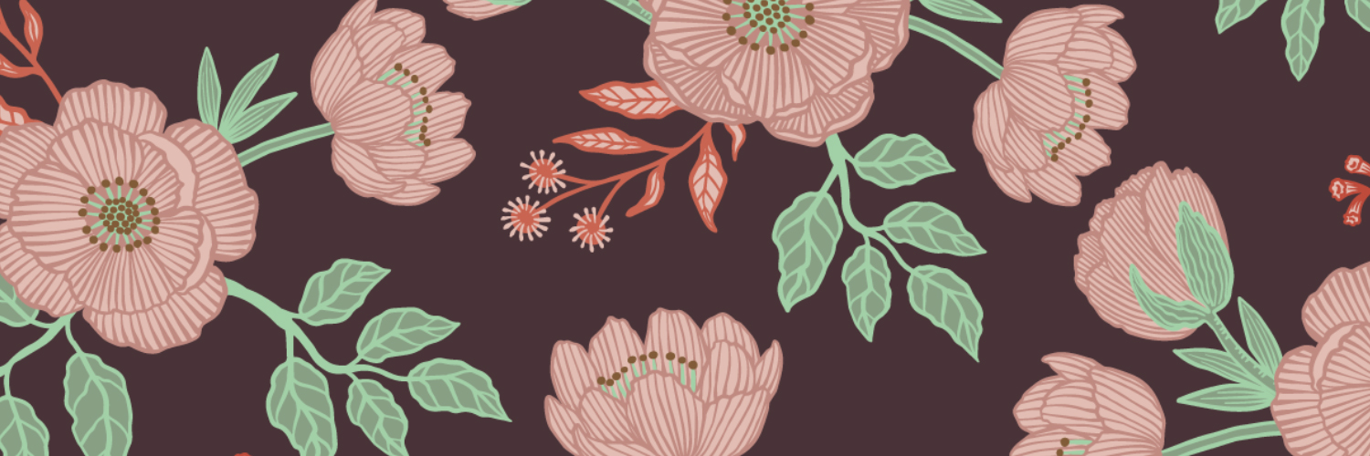 Forest Floral - on Dark Brown Background by Marit Cooper