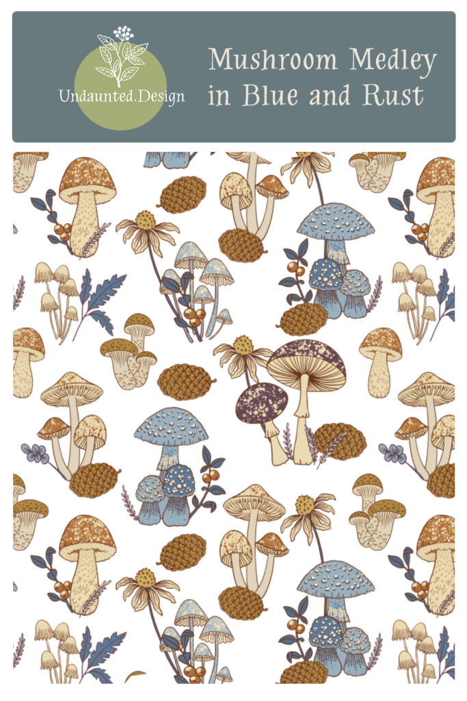 Mushroom Medley in Blue and Rust by Marit Cooper