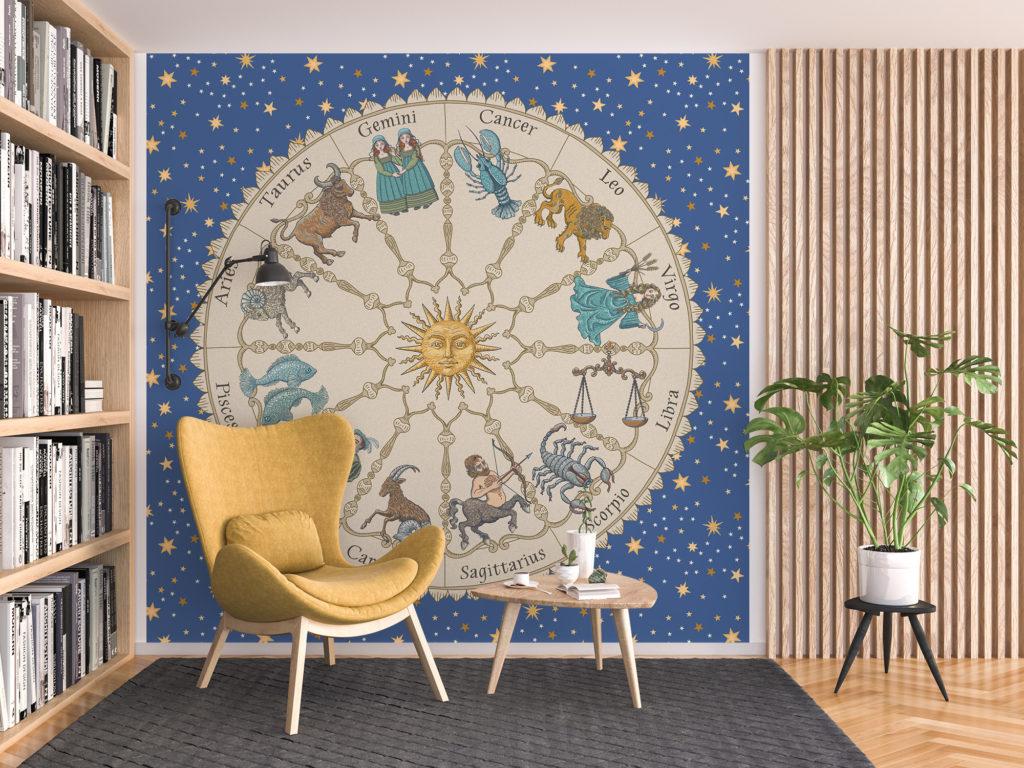 Vintage Astrology Zodiac Wheel by Marit Cooper